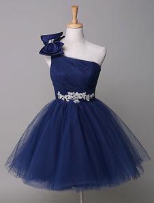 Vestido de gala de color azul real de tul escote a un solo hombro sin mangas faja