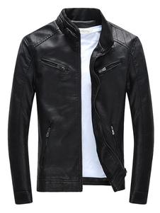 Giacca nera zip tasche PU giacca Slim Fit per gli uomini
