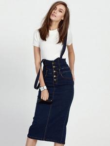 Saia bolsos suspensor jeans saia botões da Marinha para mulheres