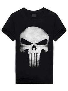 Двухцветная футболка Череп печати хлопка случайные футболки для мужчин