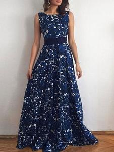عارية الذراعين فستان ماكسي أزرق طباعة الشيفون اللباس 2020