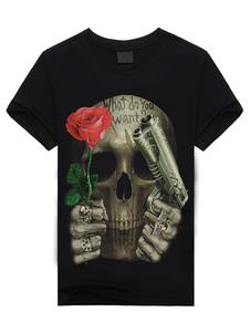 Cráneo negro dibujos animados camiseta estampada manga corta algodón camiseta para los hombres