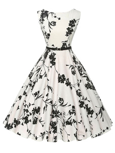 Flare de impressão branco vestido chique poliéster vestido Vintage