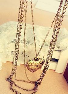 Collar corazón forma Metal en capas de oro para las mujeres