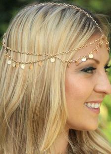 Аксессуары для металлических волос бахромой золото оголовье