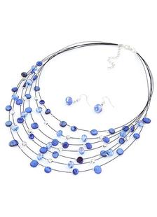 Set de joyería del collar de capas de Metal de cristal multicolor para mujeres