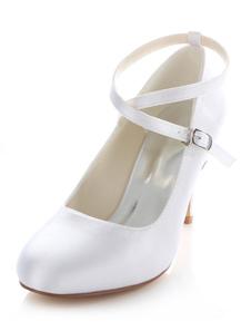 الأبيض مضخات الزفاف عبر الأشرطة الحرير كعوب الزفاف للنساء