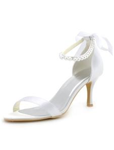 القوس اللؤلؤ صنادل الزفاف الأبيض الحرير كعوب الزفاف للنساء
