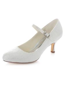 الأبيض مضخات الزفاف الأشرطة الساتان الكعوب الزفاف للنساء