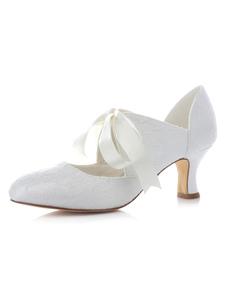 Zapatos de novia de satén 5.5cm Zapatos de Fiesta Zapatos blanco  de tacón de kitten Zapatos de boda de puntera de forma de almendra con cinta