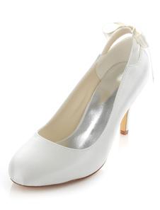 الأبيض مضخات الزفاف أنيقة القوس الساتان الكعوب الزفاف للنساء
