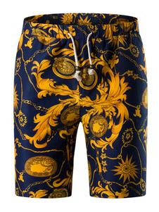 Shorts encaje impresión Floral multicolor de hombres hasta pantalones cortos de algodón