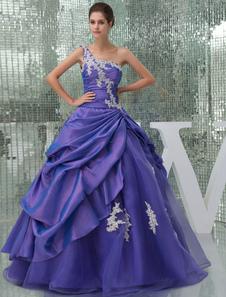 واحد الكتف فستان حفلة موسيقية الديكور زين التفتا مطوي الطابق طول اللباس كوينسينيرا