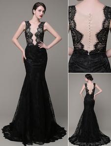 Sirena Vestido de noche encaje ilusión Backless Vestido fiesta vestido Milanoo