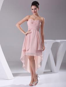 Vestido de damas de honor escote en corazón sin mangas pliegues cola asimétrica