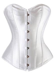 Wedding Lingerie Women Satin Overbust Corset Waist Training Lace Up Back