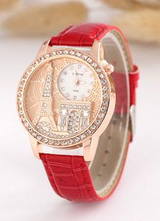 Correa de Metal ronda forma reloj para mujer casual