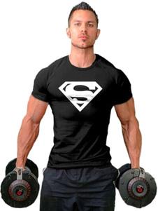 Camiseta de hombre negro Camiseta de algodón con manga corta estampado Superman