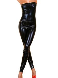 Сексуальный черный костюм латекса  Хэллоуин