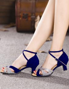 Azul Zapatos de Baile Latino 2020 Sandalias de Baile de Brillo Abierta Punta Cruz de Criss Zapatos de Salón Baile