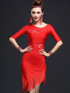 Disfraz Carnaval Vestido de baile latino de fibra sintética diseño hueco flecos Carnaval
