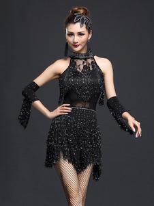 Traje de dança latina de nylon para mulheres