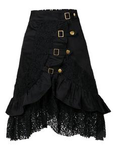 Черное атласное юбка кружева с металлическими деталями