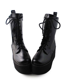Opaco nero Lolita stivali alta piattaforma