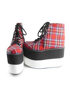 Zapatos Lolita Alta Platforma a Cuadros Tirantes