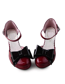 Lolita vermelho escuro saltos de sapatos com laço preto