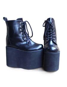 Lolita preto fosco alta plataforma com Design Shoeslace