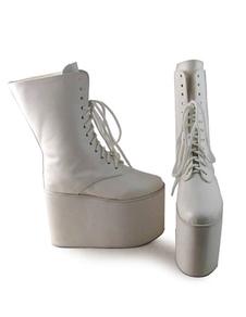 Lolita branco fosco botas plataforma alta