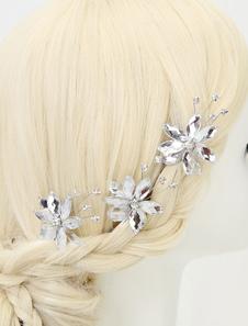 Headpieces casamento de strass purpurina flor tipo gancho de cabelo nupcial