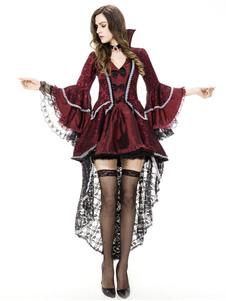 Disfraz Carnaval Halloween vampiro vestido bruja gótica rojo oscuro Traje Cosplay Halloween Carnaval