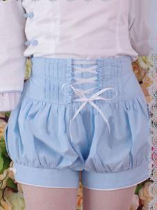 Céu azul algodão Lolita Shorts rendas até babados