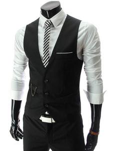 Черный жилет для мужчин 2020 V Шея Тонкий подгонка передняя кнопка Костюм Gilet