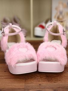 Dulce Lolita rosa sandalias plataforma corazón esponjoso forma correa de tobillo