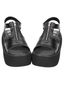 Gothic Lolita negro mate sandalias plataforma cremallera diseñada