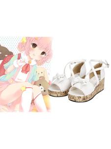 alta perlas plataforma sandalias Lolita arcos tobillo blanco Decor q6TBxB