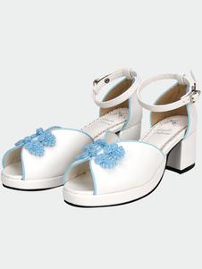 Blanco Qi Lolita sandalias grueso Pony zapatos de tacón estilo chino azul botones