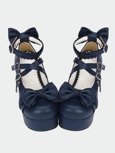 Lolita azul marinho pônei Chunky saltos sapatos plataforma tornozelo alças arcos forma fivelas de coração