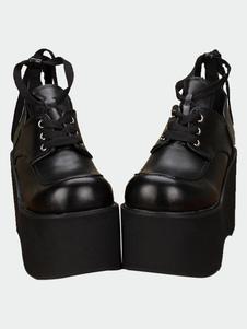 Матовый черный Лолита высокой платформе обувь шнурки вверх