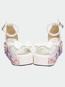 Lolita blanco sandalias plataforma alta arcos perlas Decor tobillo