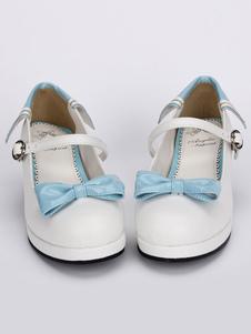 Zapatos de tacón Chunky Lolita blanco azul lazos alrededor del tobillo correa de hebilla