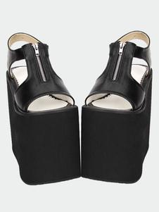 Lolita de preto/branco fosco sandálias plataforma alta zíper projetado