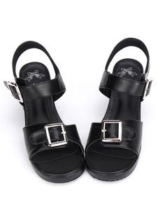 Lolita negro grueso sandalias Pony Plaza de tacones hebillas de correa de tobillo