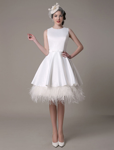 Hierárquico a linha pena de joelho-comprimento do vestido de casamento vestido de noiva de cetim arco Milanoo