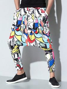 Мужчины Гарем Пант Картина Печать Кожаная нога Drop Crotch Pant