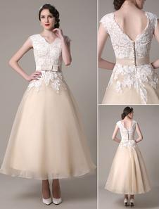 Шампанского свадебное платье шифона кружева аппликация из органзы чай Длина свадебное платье с бантом пояс Milanoo