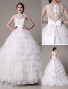 Vestido de novia escote en corazón lazo Milanoo